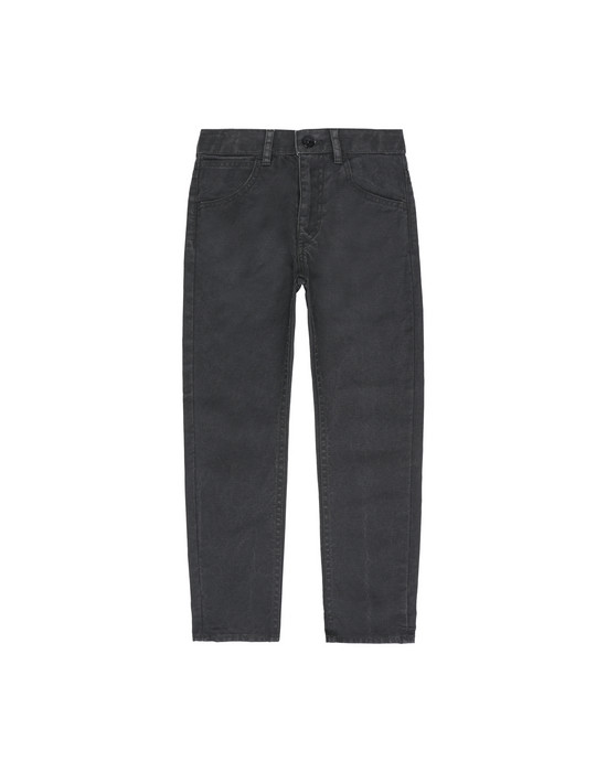 STONE ISLAND KIDS J0210 CANVAS PLACCATO  TROUSERS - 5 POCKETS Man Black
