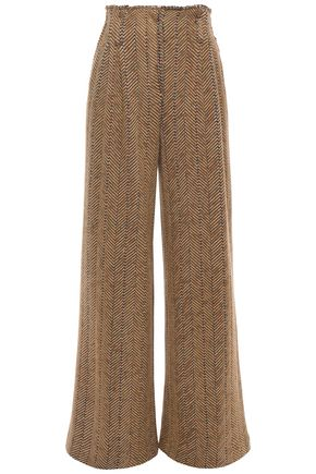 MISSONI Herringbone wool and cotton-blend wide-leg pants