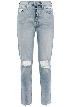 FRAME Le Original cropped distressed mid-rise slim-leg jeans