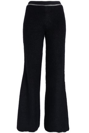 MISSONI Embroidered bouclé-knit wide-leg pants
