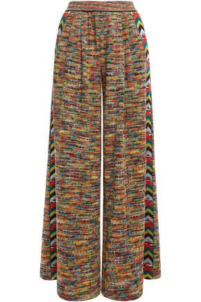 MISSONI Striped crochet-knit wool-blend  wide-leg pants