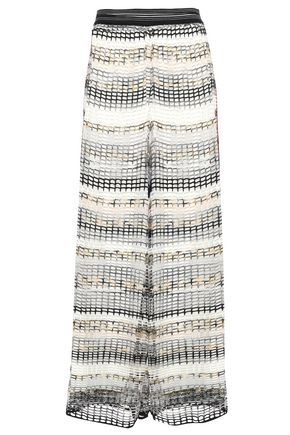 MISSONI Open-knit wool-blend wide-leg pants