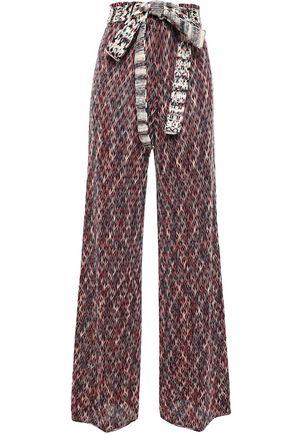 MISSONI Belted crochet-knit wide-leg pants