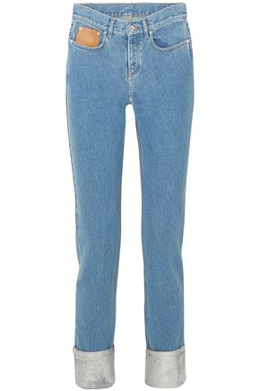 PACO RABANNE Two-tone high-rise straight-leg jeans
