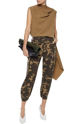 Proenza Schouler Pants PROENZA SCHOULER WOMAN CROPPED PRINTED COTTON-BLEND TWILL TAPERED PANTS ARMY GREEN