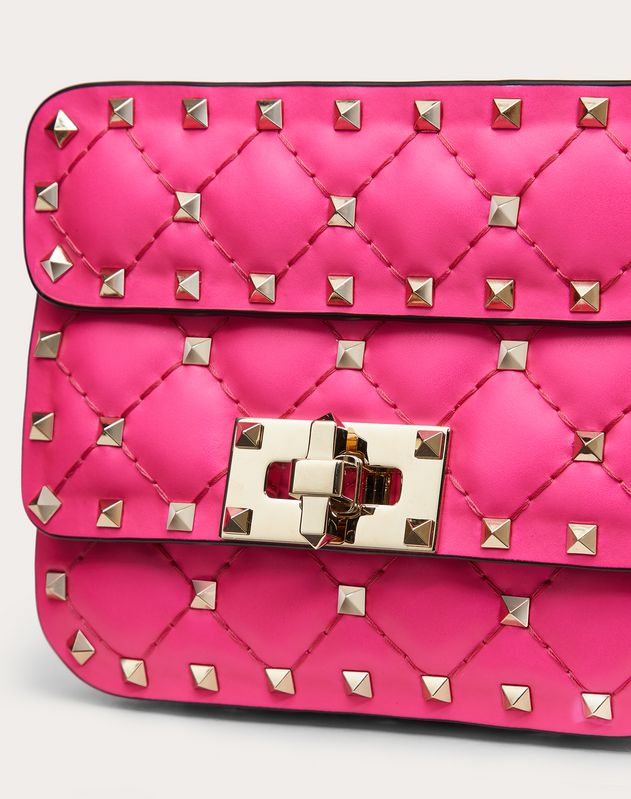 Micro Rockstud Spike fluo calfskin leather bag