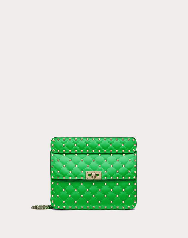 Medium Rockstud Spike fluo calfskin leather bag