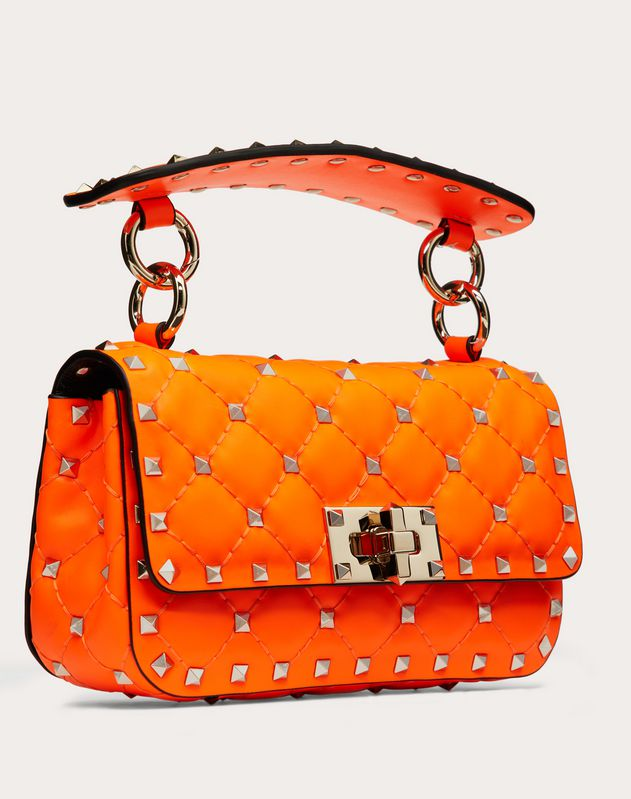 Borsa Mini Rockstud Spike In Vitello Fluo