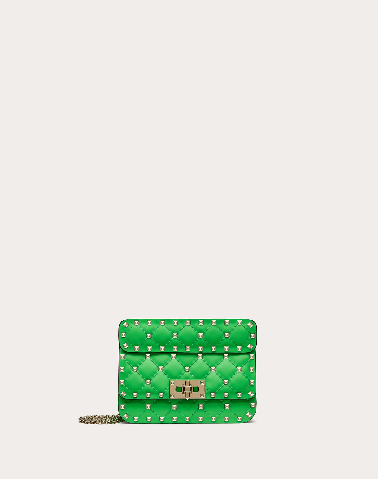 Mini Rockstud Spike fluo calfskin leather bag
