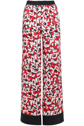 MARY KATRANTZOU Macaw printed satin-twill wide-leg pants