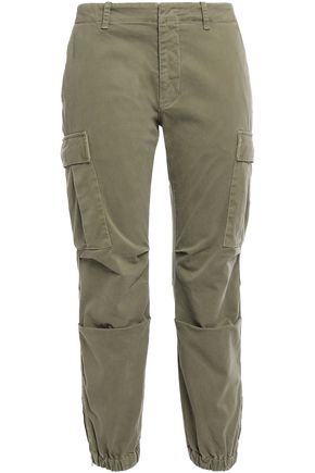 NILI LOTAN Cropped cotton-blend twill tapered pants