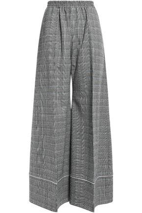 RACIL Korin gathered checked stretch-wool wide-leg pants