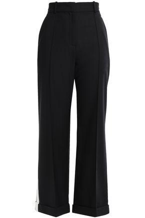 RACIL Striped wool-crepe wide-leg pants