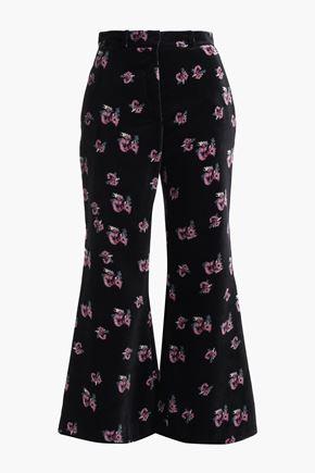 RACIL Lauren floral-print velvet kick-flare pants
