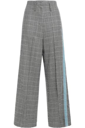 RACIL Nitta velvet-trimmed houndstooth stretch-wool wide-leg pants
