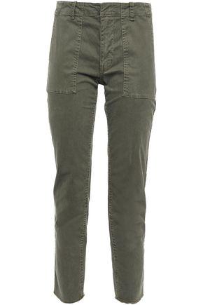 NILI LOTAN Cropped striped stretch-cotton slim-leg pants
