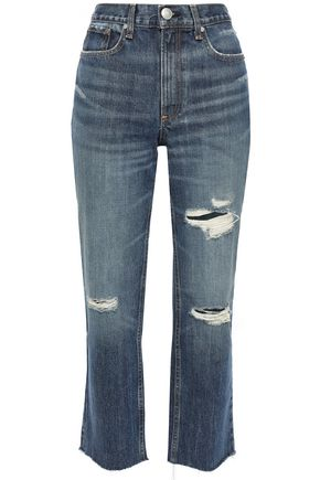 RAG & BONE Distressed faded high-rise straight-leg jeans