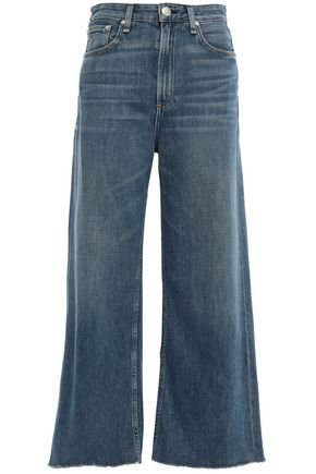 RAG & BONE Ruth cropped frayed high-rise wide-leg jeans