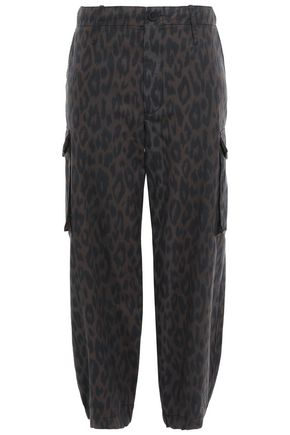 PROENZA SCHOULER PSWL Leopard-print cotton-gabardine tapered pants