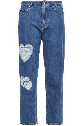 LOVE MOSCHINO Cropped distressed boyfriend jeans