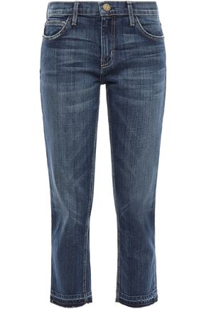 CURRENT/ELLIOTT The Cropped frayed faded mid-rise straight-leg jeans