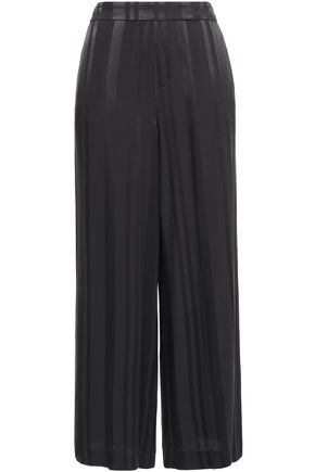 CHARLI Cropped striped satin-jacquard wide-leg pants