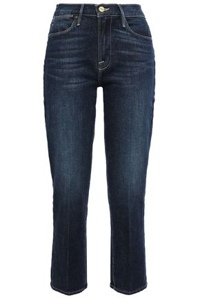 FRAME Cropped faded high-rise straight-leg jeans