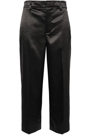 VINCE. Cropped satin-crepe wide-leg pants