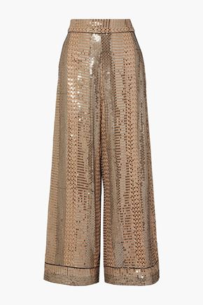 TEMPERLEY LONDON Platinum sequin-embellished chiffon wide-leg pants