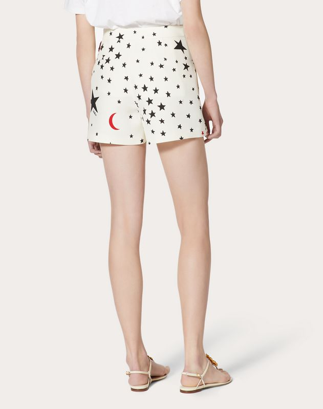 Crepe Couture Shorts with Print and Embroidery