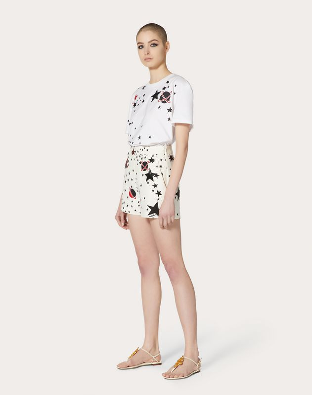 Short in Crepe Couture con stampa e ricamo