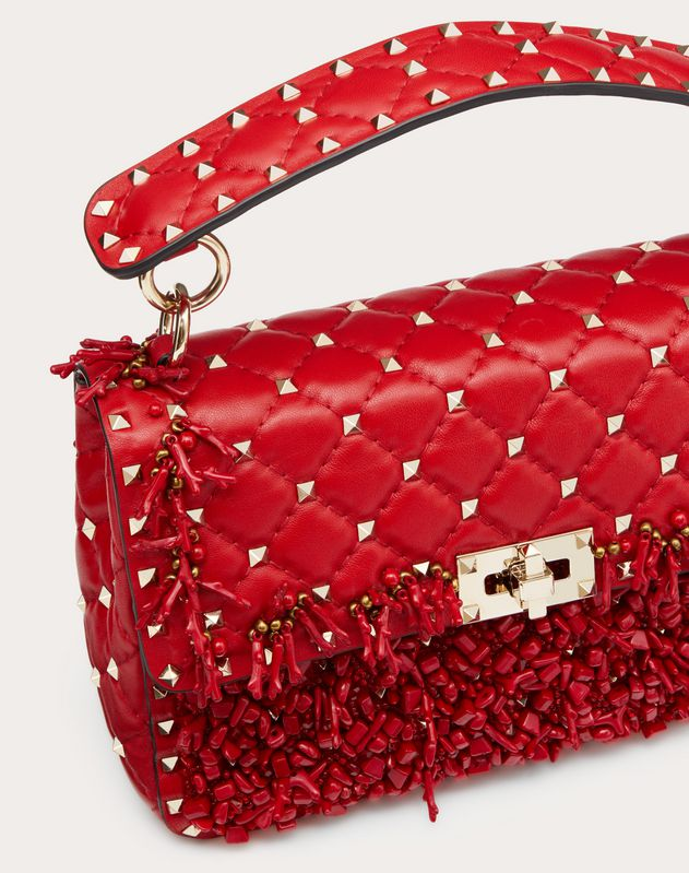 Medium Rockstud Spike.It Bag with Coral Embroidery