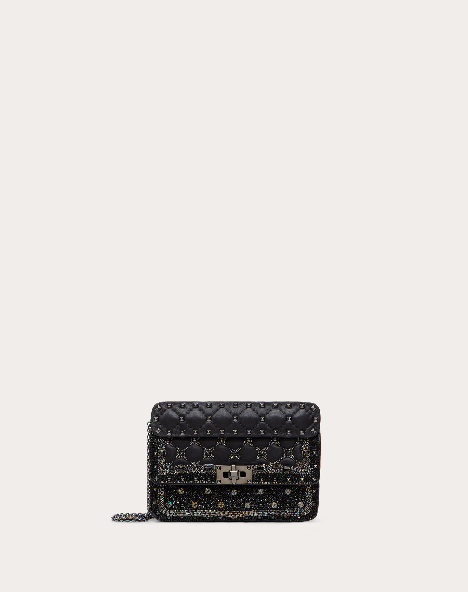 Small Rockstud Spike.It Bag with Geometric Embroidery