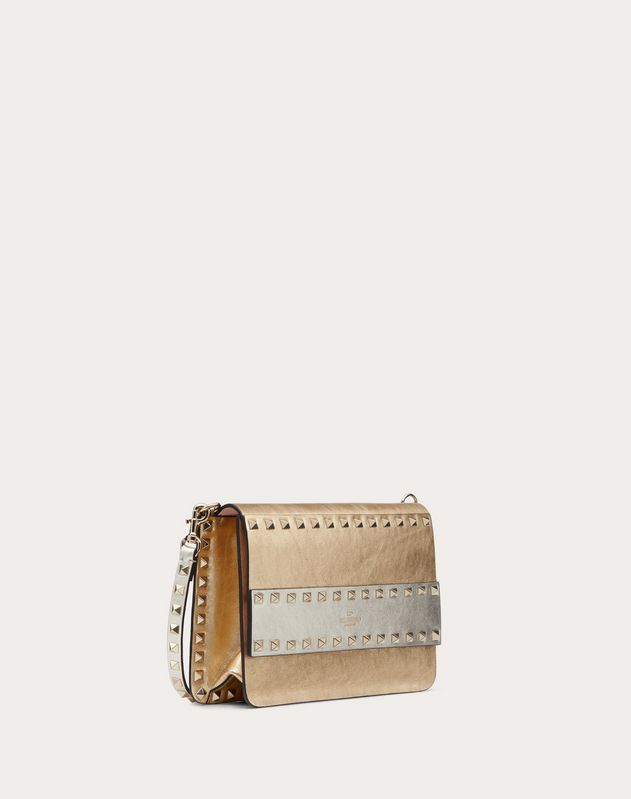 Small Rockstud Crossbody Bag in Metallic Craquelure-Effect Calfskin