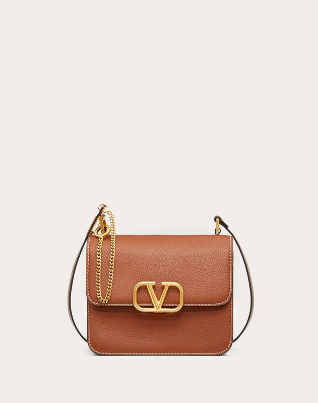 VSLING Grainy Calfskin Shoulder Bag with Contrast Stitching