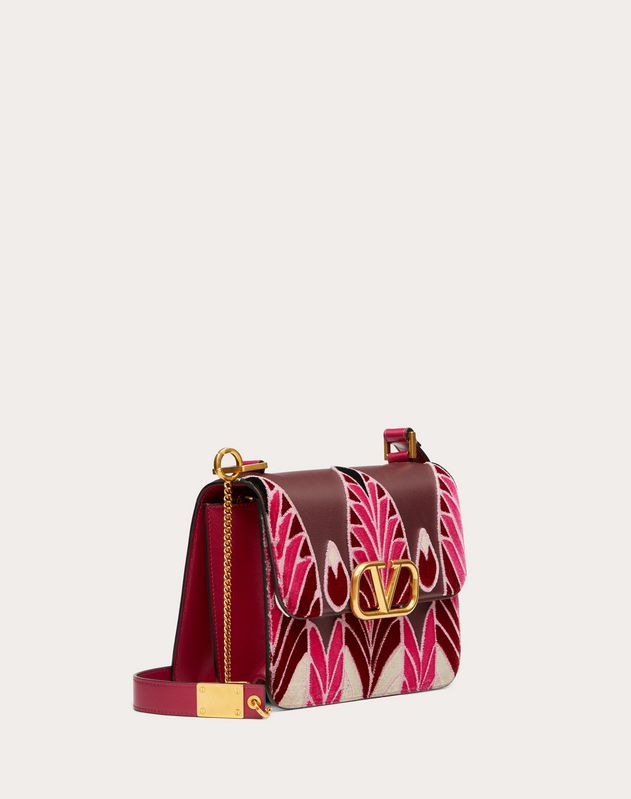 VSLING Grainy Calfskin Shoulder Bag with Feather Embroidery