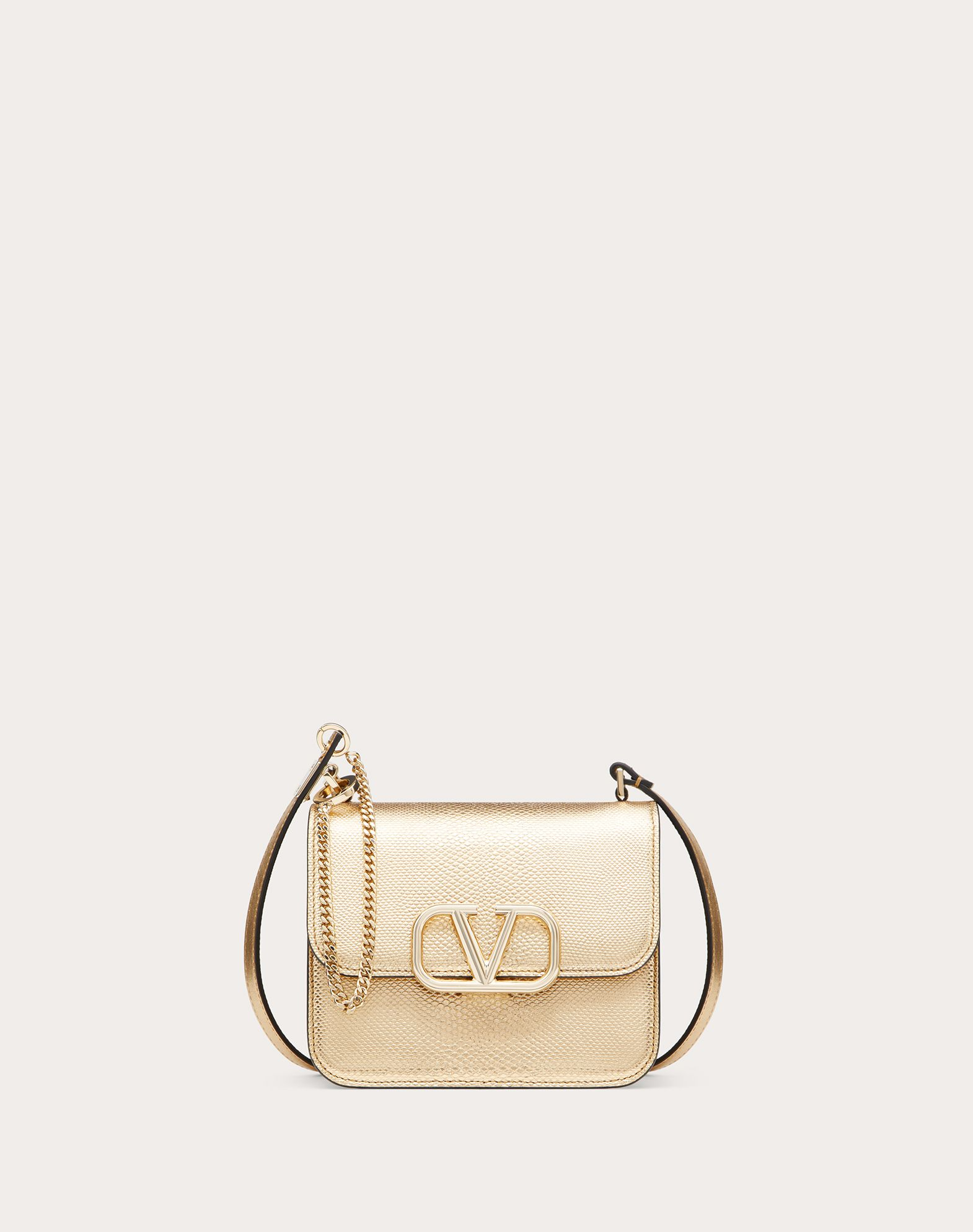 Small VSLING Metallic Snakeskin Shoulder Bag