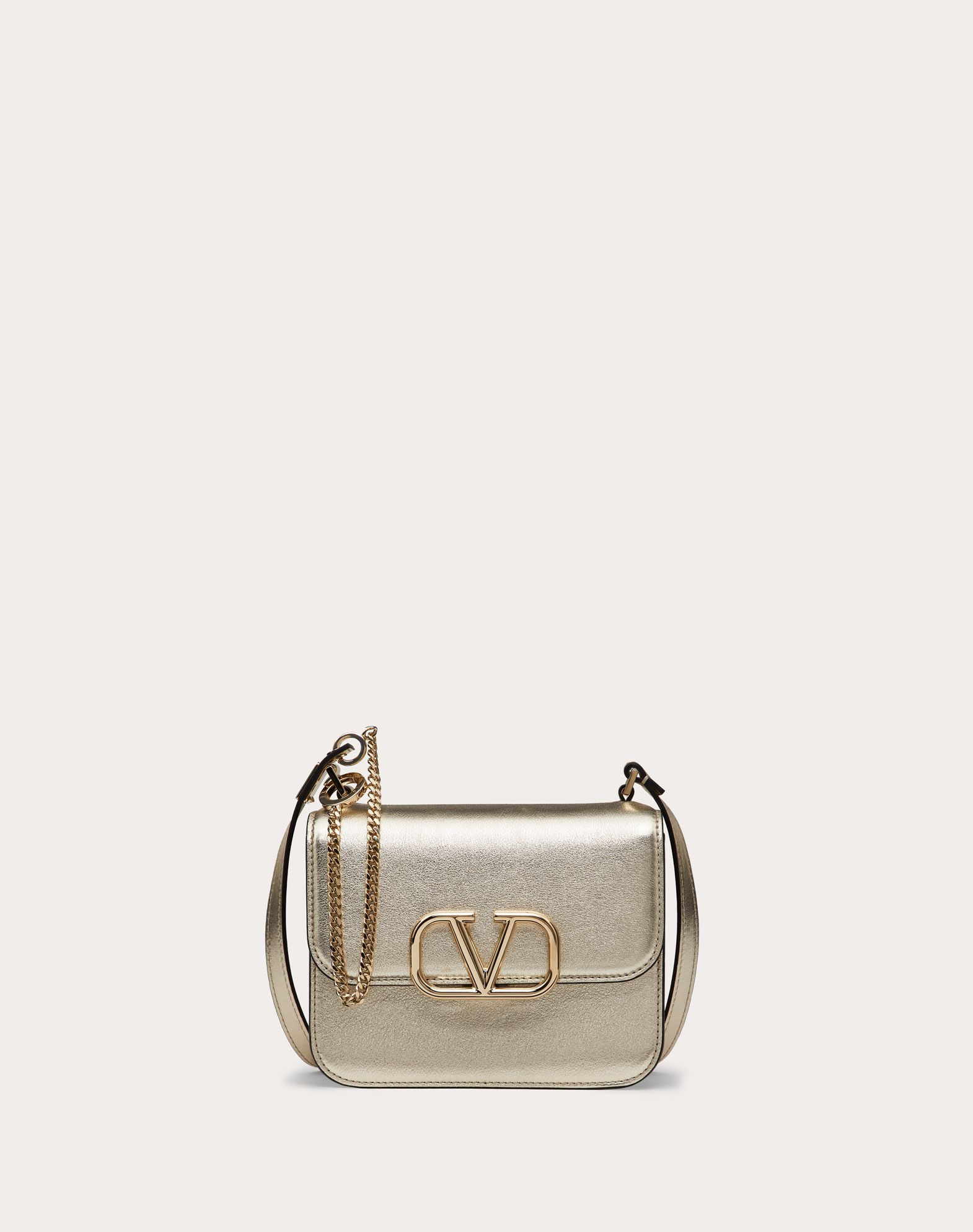 Small VSLING Shoulder Bag in Metallic Craquelure-Effect Calfskin