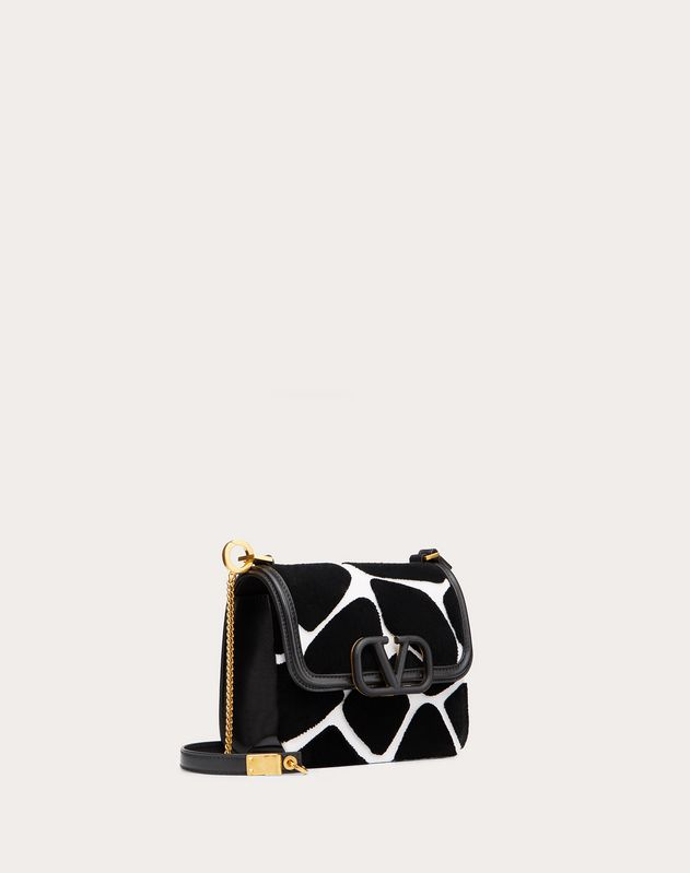 Small VSLING Nappa Shoulder Bag with Giraffe Embroidery