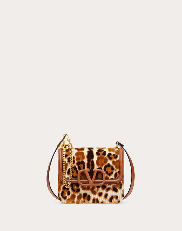 Small VSLING Canvas Shoulder Bag with Leopard Embroidery