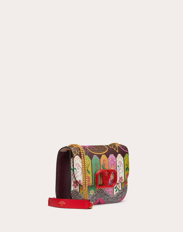 Small VLOCK Calfskin Shoulder Bag with Carpret Reedition Print