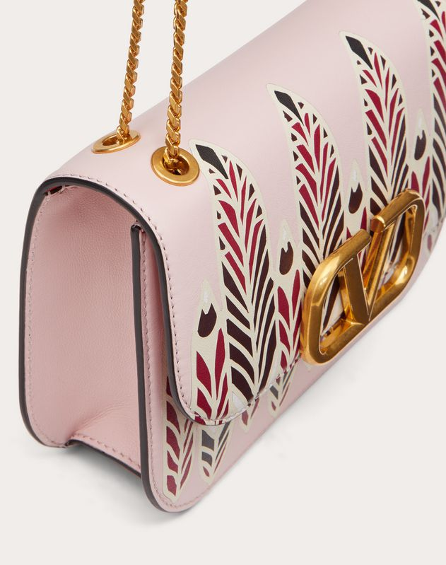 Small VLOCK Calfskin Shoulder Bag with Feather Print