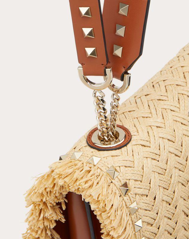 Rockstud Raffia Crossbody Bag