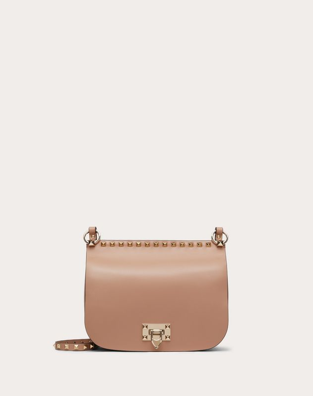 Rockstud Shiny Calfskin Crossbody Saddle Bag