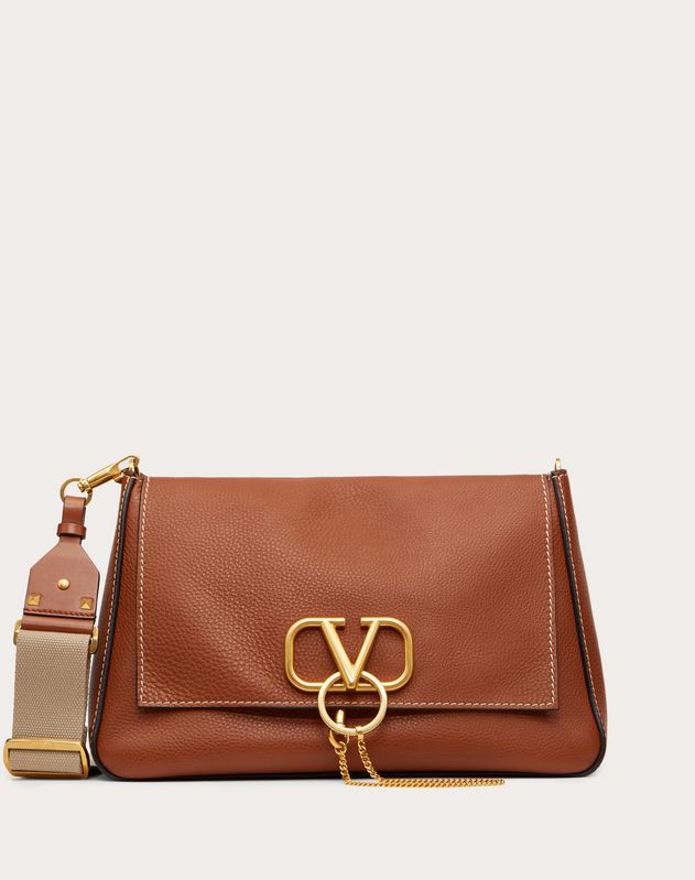 Large VRING Grainy Calfskin Crossbody Bag