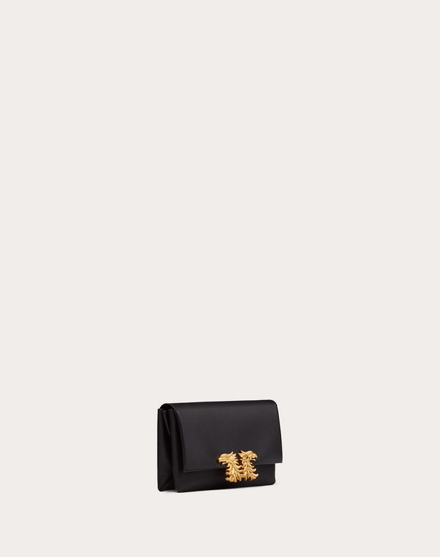 Small Crossbody Bag in Nappa-Effect Calfskin with Griffin Accessory