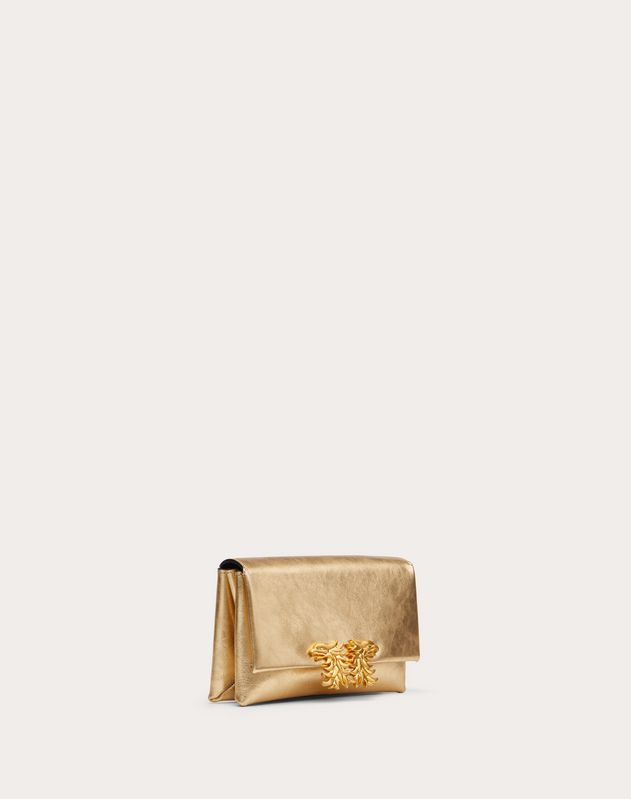 Small Crossbody Bag in Metallic Craquelure-Effect Calfskin with Griffin Accessory
