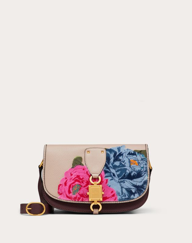 Large VLOCKER Grainy Calfskin Crossbody Bag with Camellia Embroidery