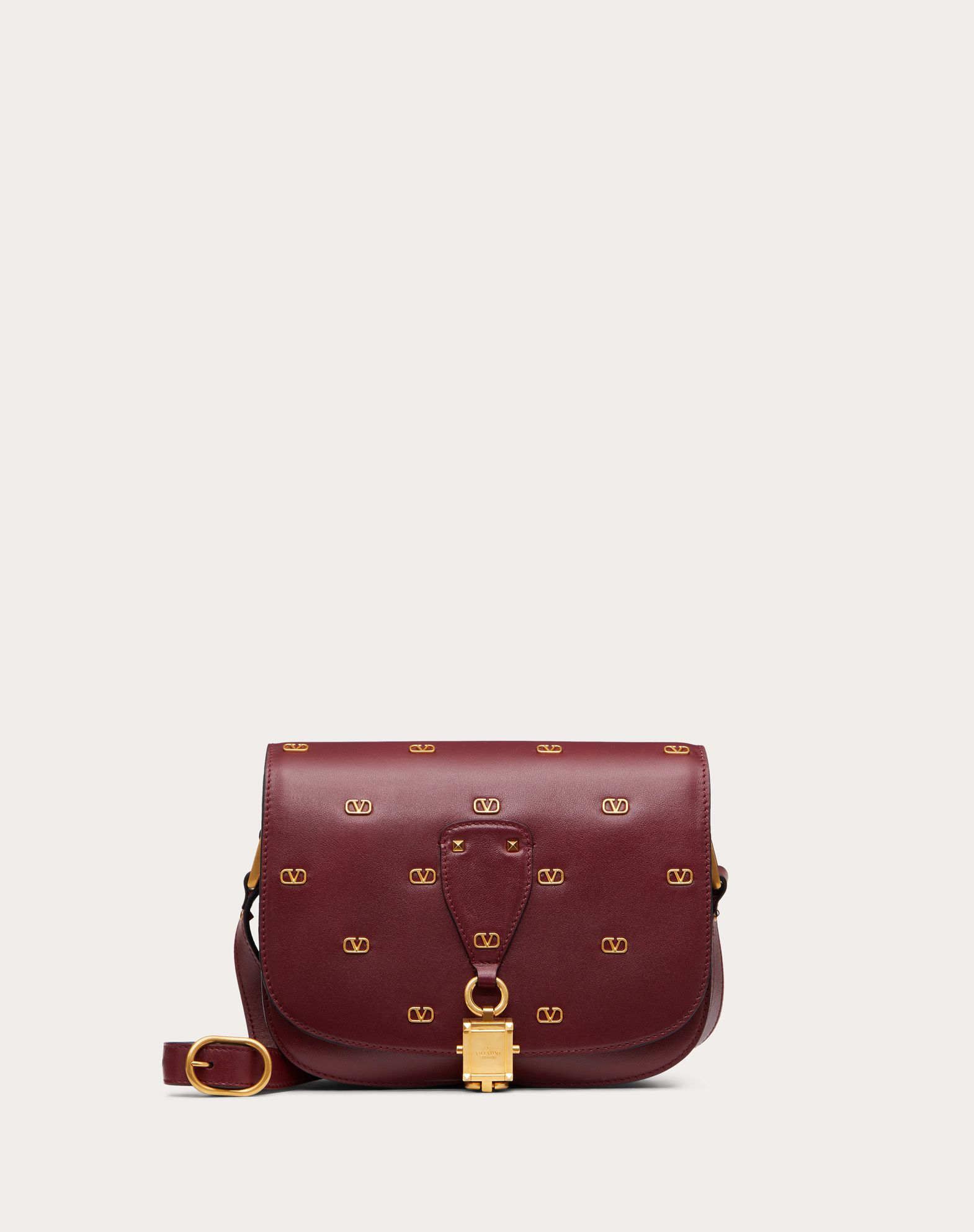 VLOCKER Calfskin Crossbody Bag with Mini Metal Logos