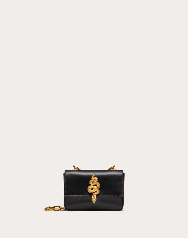 Mini Crossbody Bag in Glossy Calfskin with Serpent Accessory